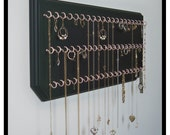 Jewelry Organizer Hanging Necklace Holder Display 9x20 Black with 55 Pink Coated Jewelry Hooks