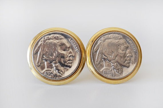 Vintage Cufflinks Indian Head Nickels