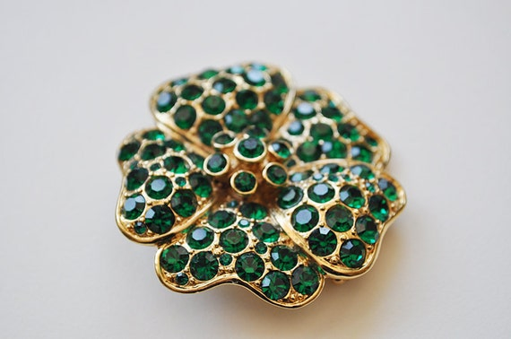 Vintage Brooch Emerald Green Rhinestone Encrusted Flower