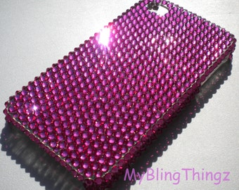 Bright HOT PINK Fuchsia Crystal Diamond Rhinestone BLING Back Case for Apple iPhone 4 4G 4S handmade with 100% Swarovski Elements