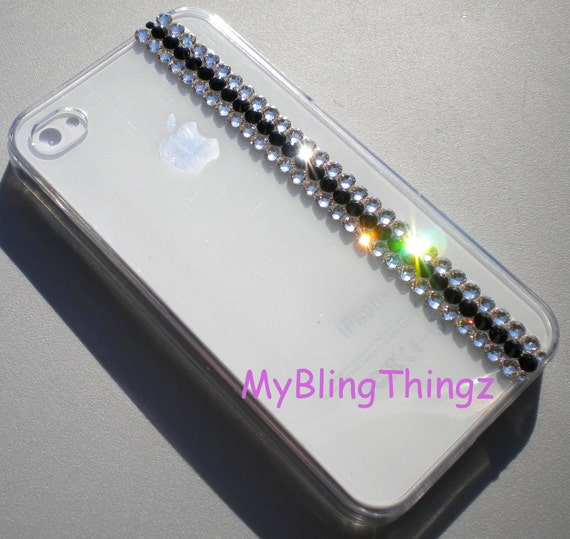 Simply Exquisite Crystal & Jet Diamond Bling Rhinestones on Clear Crystal Back Case for Apple iPhone 4 4G 4S handmade w/ Swarovski Elements