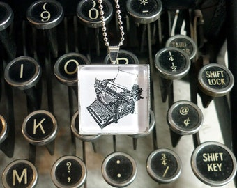 Antique Typewriter pendant necklace - block print design