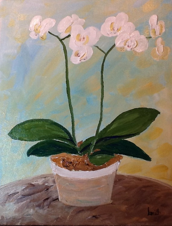 I buy my own flowers original orchid acrylic canvas painting for Buy mural paintings