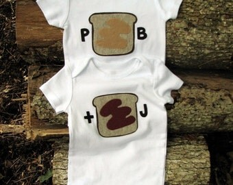Twin Clothing, Gifts for Multiples, Baby Onsie, Peanut Butter and Jelly, Funny Twin Gifts, Baby Gift, Sibling Set, Under 50, Baby Clothes