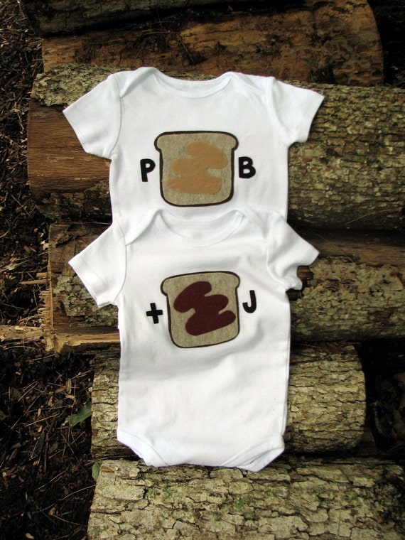 Twin Clothing, Gifts for Multiples, Baby Onesie, Peanut Butter and Jelly, Funny Twin Gifts, Baby Gift, Sibling Set, Under 50, Baby Clothes