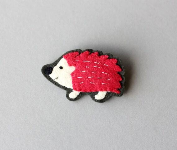 Red Hedgehog Brooch, Animal Brooch, felt pin - Spike