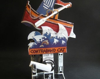 Contraband Cat card cut out automata kit.