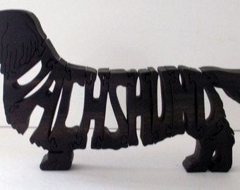 Long Haired Dachshund Handmade Fretwork Jigsaw Puzzle Wood Dog