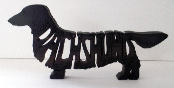 Long Haired Dachshund Handmade Fretwork Jigsaw Puzzle Wood Dog