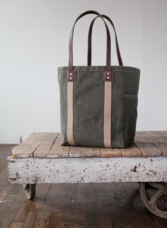 Utility Tote in Olive Waxed Canvas & Brown Leather