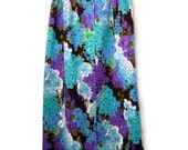 maxi skirt - 60s floral maxi skirt - button front full skirt - vintage purple and blue maxi skirt - xs