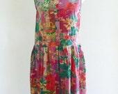 grunge dress - 90s floral tank dress - grunge dropwaist boho sundress - sun dress