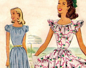 "40s dress pattern - McCall 6917 - McCalls- puff sleeve dress pattern - bust 31"" - sundress"