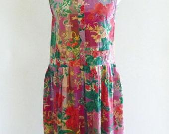 90s dress - drop waist boho tank dress - 90s clothing - grunge dress