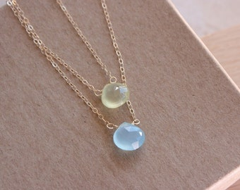 Gold Gemstone Necklace , 14K Gold Filled , Sterling Silver , Minimalist Necklace , Gold Necklace , Chalcedony Gemstone , Dainty Necklace