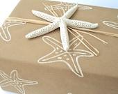 Kraft Wrapping Paper Roll Hand Printed Starfish Gift Wrap Lino Block Print Beach Wedding