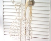 Jewelry Stand Hand Painted Roses Metal Dress Form French Farmhouse Eco Wedding DIY Wedding