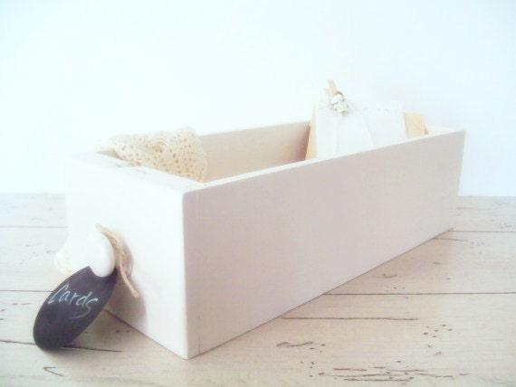 Drawer Organizer Sewing Machine Drawer Chalkboard Tag Wedding Accessories Wedding Card Box Display Cottage White