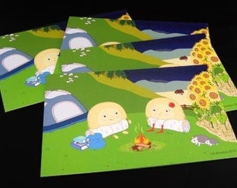 Postcards 4 Pack of 4 x6 Illustrated Postcards- Ukrainian Perogies (Varenyky) Camping in Carpathian Mountains  - Illustration by A.Bamber