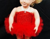 """2-Piece Be My Valentine Tutu Outfit For 18"""" and 15"""" Dolls - Fits American Girl Dolls and My Generation Dolls"""
