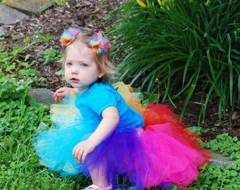 Rainbow Block Tutu And Hair Puff Clip Set - Custom Fitted for Babies and Children