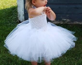 Flower Girl Crochet Tutu Halter Dress - Size NB to 24 Months- Can Be Worn Different Ways