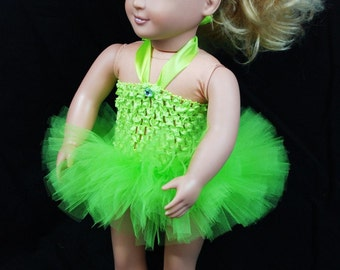 "2-Piece Tinkerbell Tutu Outfit For 18"" and 15"" Dolls - Fits American Girl Dolls and My Generation Dolls"