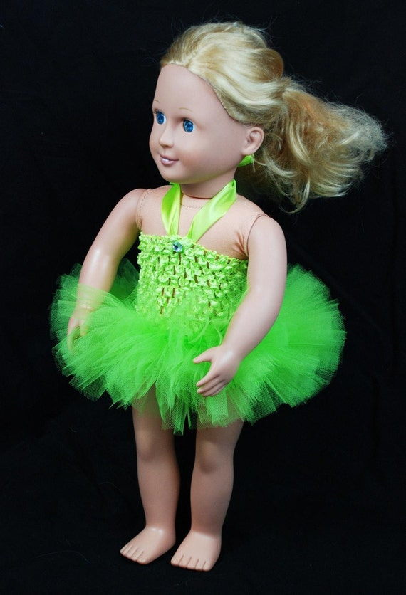 """2-Piece Tinkerbell Tutu Outfit For 18"""" and 15"""" Dolls - Fits American Girl Dolls and My Generation Dolls"""