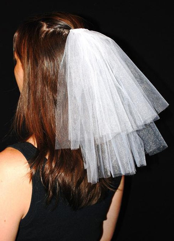 Wedding or Bachelorette Party 2-Tier Veil Hair Clip