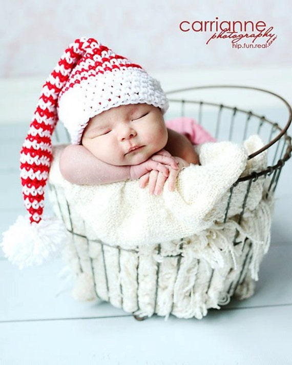 Candy Cane Christmas Santa Hat Photography Prop Crochet PATTERN (/All Sizes)