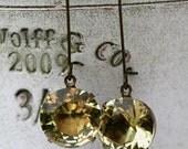 Citrine Earrings, Estate Style Earrings, Yellow Earrings