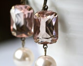 Estate Style Earrings, Swarovski Pearl, Blush Faceted Stones, Bridesmaid Earrings