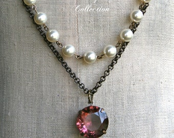 Estate Style Necklace, Swarovski Pearl, Faceted Stone, Statement Necklace
