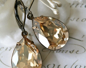 Champagne Earrings, Crystal Earrings, Tear Drop Earrings, Swarovski Crystal Earrings