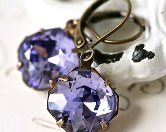 Tanzanite Earrings, Tanzanite Swarovski Earrings, Estate Style Earrings, Purple Earrings, Purple Crystal Earrings, Tanzanite Earrings