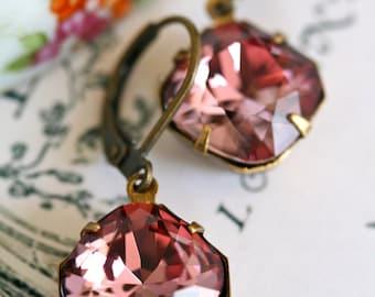 Pink Swarovski Crystal Earrings, Cushion Cut, Estate Style Earrings, Antique Pink