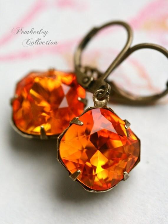 Fire Opal Swarovski Crystal Earrings, Cushion Cut Earrings, Estate Style Earrings, Orange Earrings, Fire Opal Earrings, Autumn Wedding
