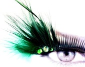 Green Feather False Eyelashes Costume Makeup
