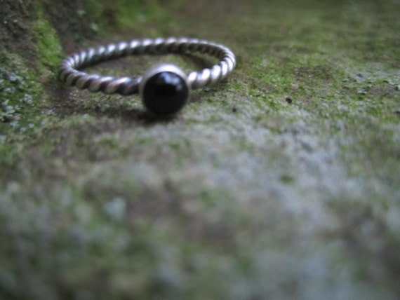Black Onyx Sterling Silver Stack Ring with Twisted Rope Band, in your size