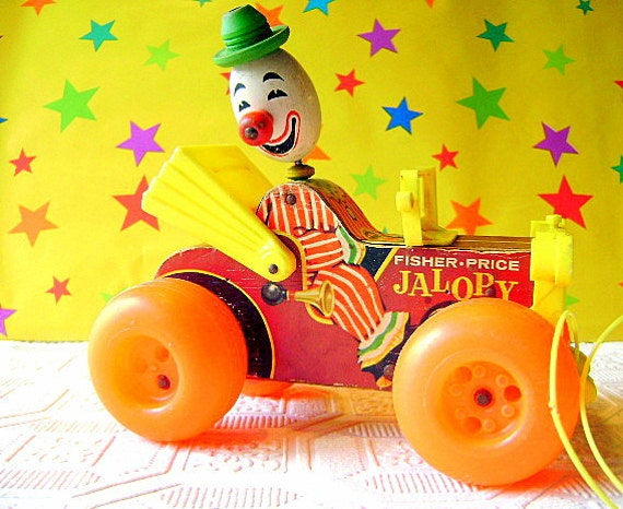 Vintage 1966 Fisher Price Wobbely Jalopy with Clown-Great Condition