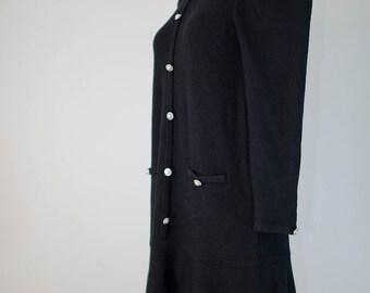 vintage Adolfo for Saks Fifth Avenue black knit dress S M L