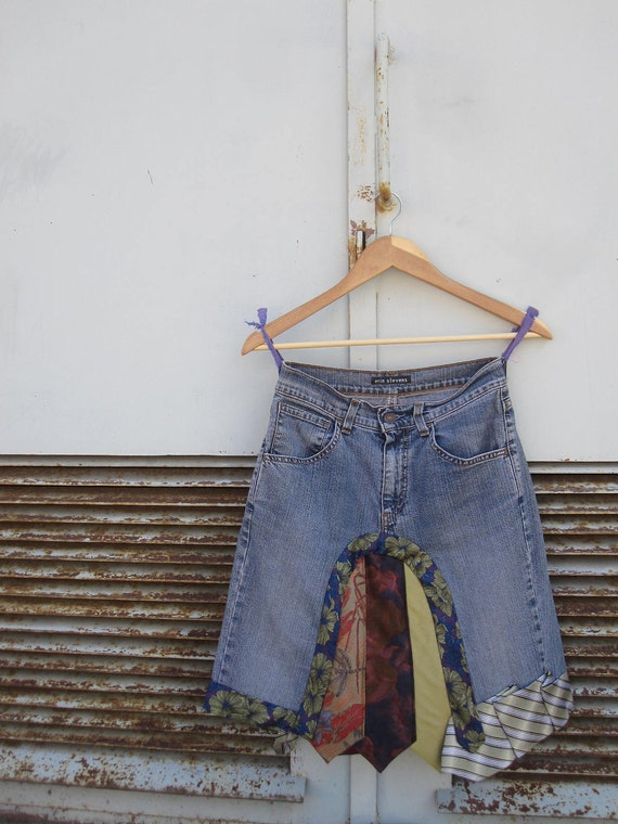 SALE / Upcycled Denim Repurposed Neckties Skirt - made from upcycled jeans and neckties - Womens Upcycled Clothing