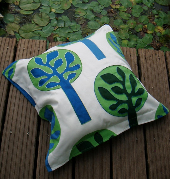 20 inch Pillow Case, Embroidered Tree Pillow Cover, Dorm Decor, Children - White, Dark Green, Light Green, Blue