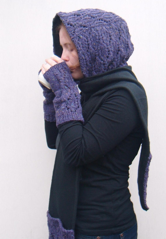Hooded Scarf with Pockets, Pocket Scarf Hoodie, Scoodie, Knit and Fleece - Purple Tweed, Black Fleece