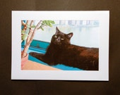 Blank Card, Black Cat Art,  Blank Note Cards, Cat Lover, Cat Artwork, Handmade Cards, Cat Gifts, Deborah Julian