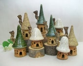Fairy Houses - Garden Fairy Houses  - Houses are out of the kiln  - Ready Now - Set of 3 Houses - Handmade on Potters Wheel