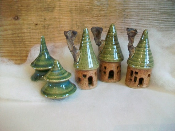 Fairy Garden Houses with Trees - 3 Houses and 2 Pine Trees, Handmade on the potters wheel