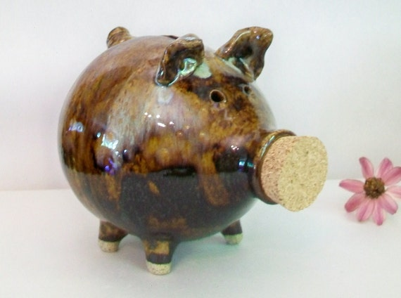 Reserved for Kellie   ----   Piggy Bank - Made on the potters wheel