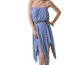 Women's Blue and White Stripe Strapless Bubble Top Dress