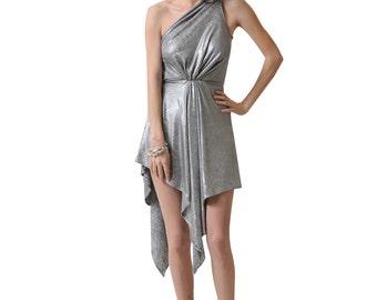 Women'sSilver One-Shoulder Dress